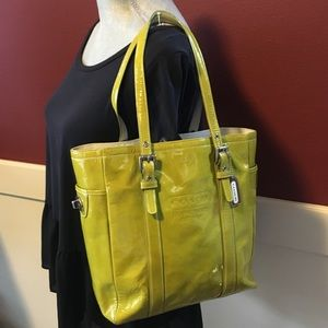 Coach Lime Green Patent Leather Tote
